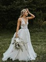 Show details for A-Line V-Neck Sleeveless Lace Applique Backless Tulle Wedding Dress