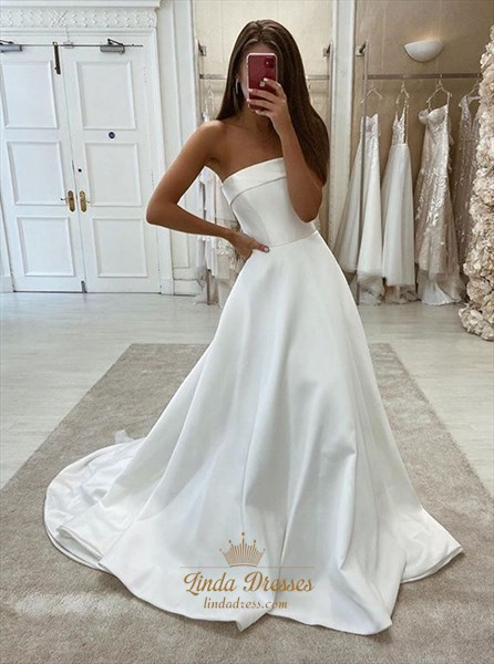 Ivory Strapless A-Line Long Satin Wedding Dress With Train