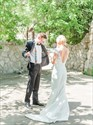 Show details for Illusion Lace Applique Mermaid Satin Wedding Dress With Cap Sleeves