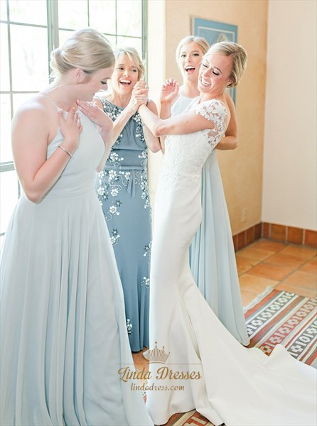 Illusion Lace Applique Mermaid Satin Wedding Dress With Cap Sleeves