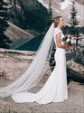 Show details for Mermaid Long Satin Cap Sleeves Wedding Dress With Lace Embellished