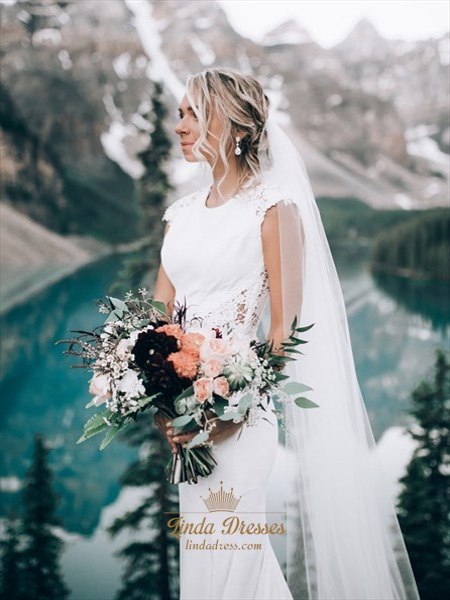 Mermaid Long Satin Cap Sleeves Wedding Dress With Lace Embellished