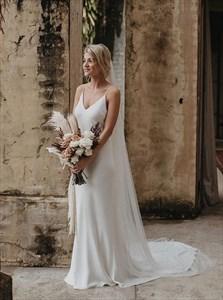 V-Neck Spaghetti Straps Satin Long Wedding Dress With Open Back