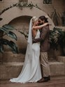 Show details for V-Neck Spaghetti Straps Satin Long Wedding Dress With Open Back