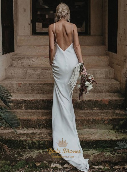V-Neck Spaghetti Straps Satin Long Wedding Dress With Open Back