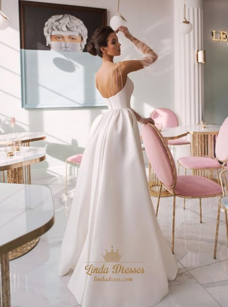 A-Line Spaghetti Straps Long Wedding Dress With Split Front