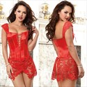 Show details for Lace Embellished Leather Shaper Corset Dress With Straps
