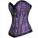 Show details for Sweetheart Lace Embellished Ruffled Trim Shaper Corset Dress