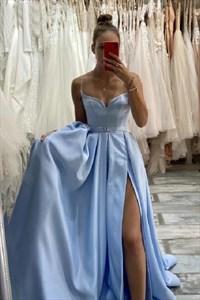 Light Blue A-Line Long Spaghetti Straps Split Front Prom Dress