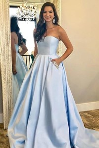 Sky Blue Strapless Satin Floor Length Prom Dresses With Pocket