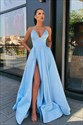 Sky Blue V-Neck Spaghetti Straps Split Front Long Prom Dress