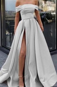 Grey A-Line Off The Shoulder Satin Prom Dress With Side Slit