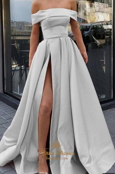 Grey A-Line Off The Shoulder Satin Prom Dress With Side Slit
