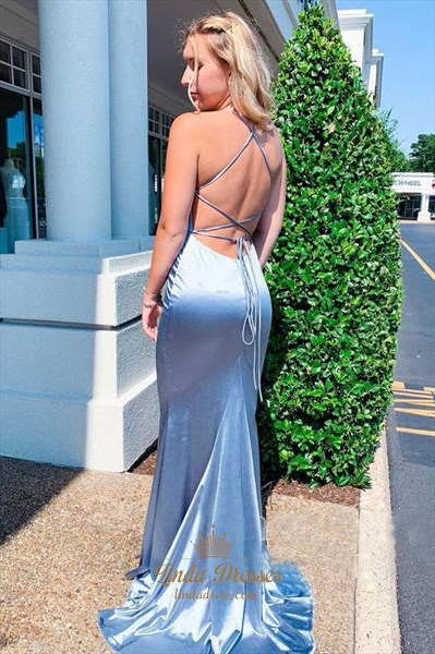 Steel Blue Spaghetti Straps Mermaid Prom Dress With Criss-Cross Straps
