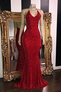 Charming Mermaid V-Neck Halter Long Backless Party Prom Dresses