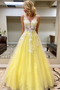 Elegant Yellow Lace Applique V-Neck Long A-Line Princess Evening Dress