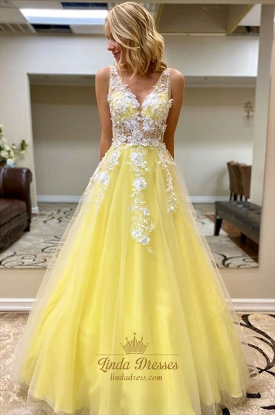 Elegant Yellow Lace Applique V-Neck Long A-Line Princess Evening Dress