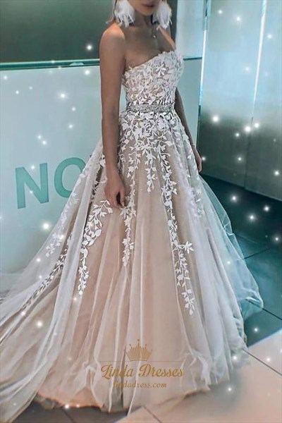A-Line Strapless Lace Applique Beaded Long Tulle Evening Prom Dresses