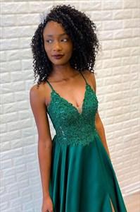 Emerald Green A-Line Spaghetti Straps Beaded Lace Applique Prom Dress