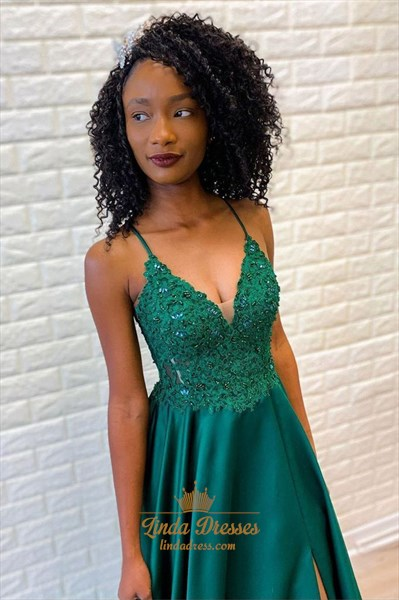Show details for Emerald Green A-Line Spaghetti Straps Beaded Lace Applique Prom Dress