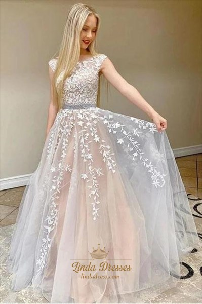 Champagne Long A-Line Beaded Lace Applique Open Back Tulle Prom Dress