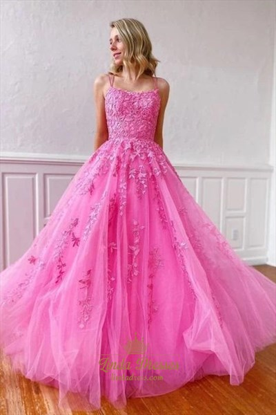 Fuchsia Pink Lace Applique Spaghetti Straps Long Tulle Evening Dresses